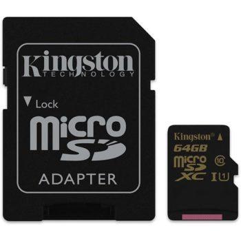 KINGSTON MicroSD 64GB Class 10 + adapter